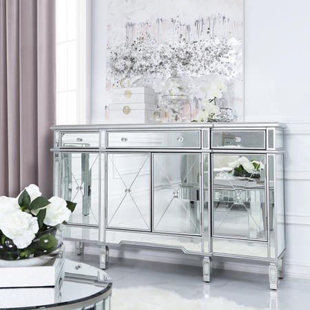 Aurora Boutique Silver Mirrored Sideboard with 4 Doors and 4 Drawers & Crystal Knob Handles