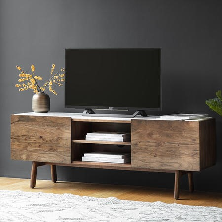 Gallery Barcelona White Marble Top Media TV Unit - TV's up to 50""