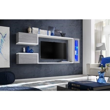 "Floating Grey & White TV Unit with Storage for TV's up to 60"" - Neo"