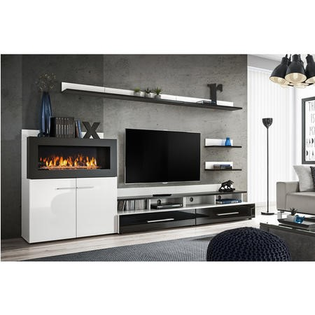 "White Gloss Entertainment Unit with Bioethanol Fireplace & Storage - TV's up to 70"" - Neo"
