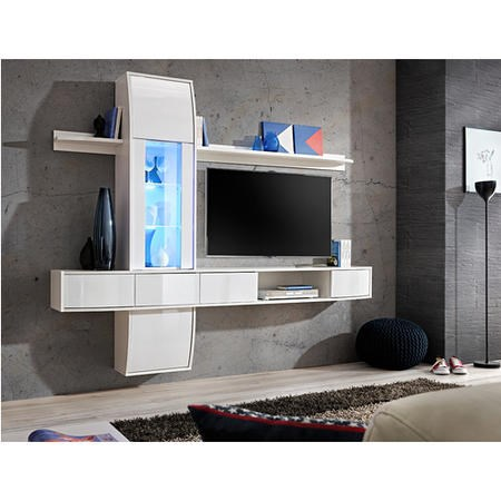 "Floating TV Entertainment Unit in White with LED Light - TV's up to 50"" - Neo"