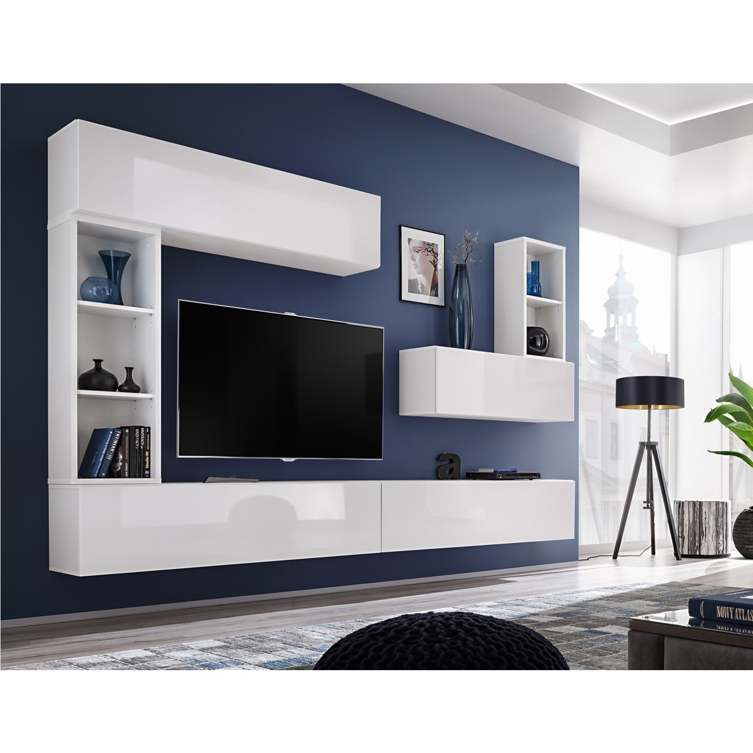 separation shoes 3d25b 3ed92 Floating White High Gloss TV Entertainment Unit - TVs up to 60