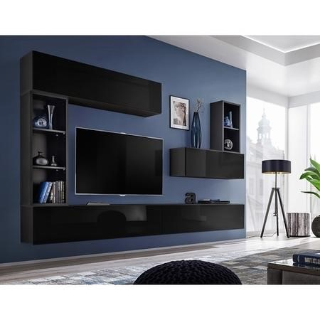 "Floating Black High Gloss TV Entertainement Unit - TVs up to 60"" - Neo"