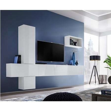 "Floating White High Gloss TV Entertainment Unit - TVs up to 75"" - Neo"