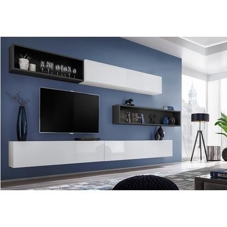 "Extra Large Wall Mounted Entertainment Unit in White Gloss & Grey- TV's up to 73"" - Neo"