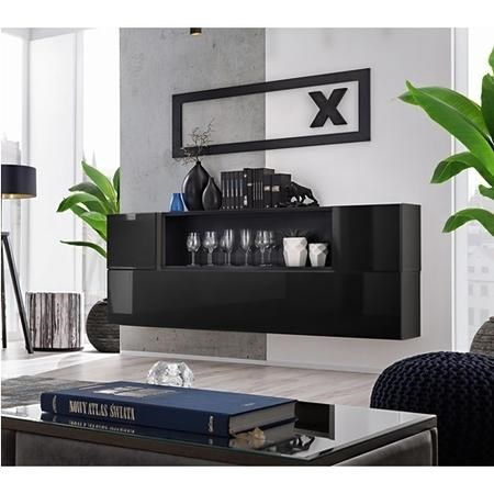 Black High Gloss Floating Sideboard with Storage - Neo