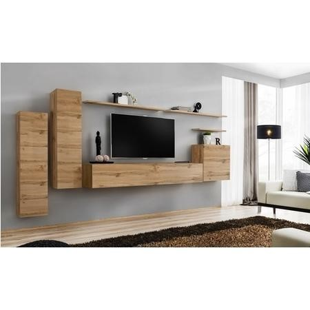 "Wooden Floating Entertainment TV Unit with Storage - TV's up to 50"" - Neo"