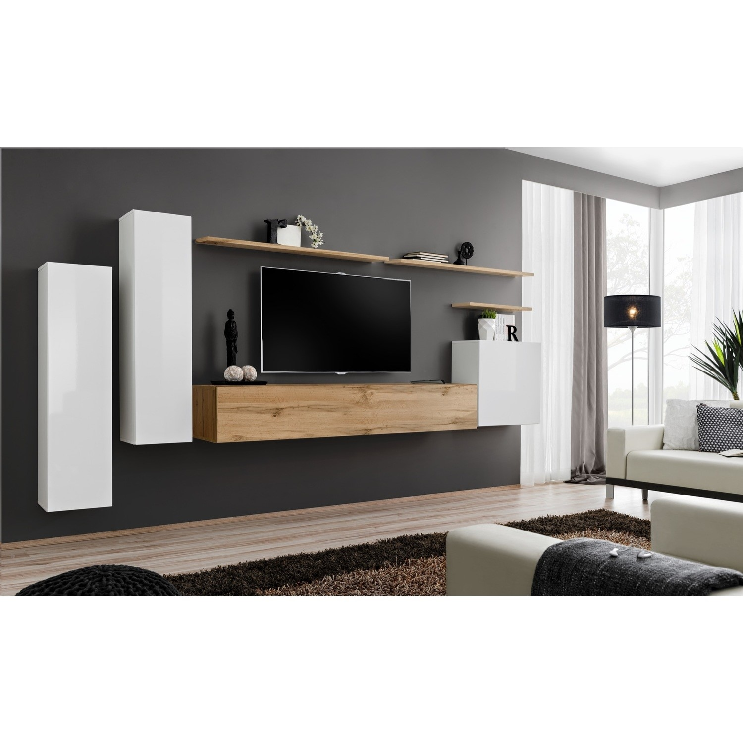 Floating TV Unit with White High Gloss Wall Hanging Units  TV's up to 50  Neo