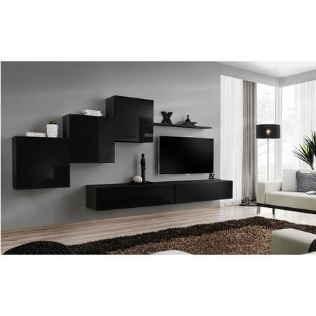 "Floating Entertainment Unit in Black High Gloss - TV's up to 50"" - Neo"