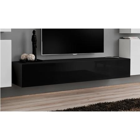 "Large Black High Gloss Wall Mounted TV Unit - TV's up to 56"" - Neo"