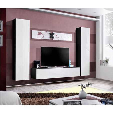 "White High Gloss & Black Matt Floating Entertainment Unit - TV's up to 70"" - Neo"