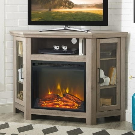 Foster Limewash Wood Corner TV Unit with Electric Fire Insert & Storage Cupboards - TV's up to 56""