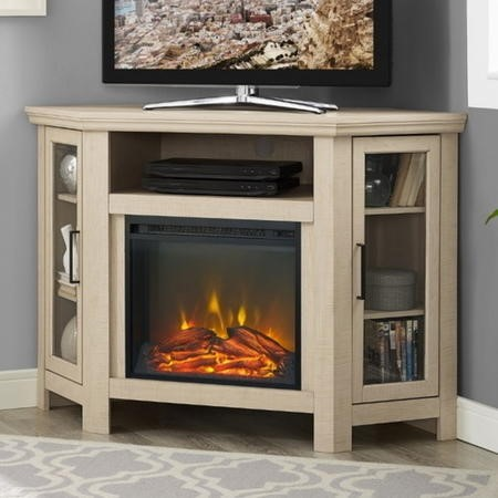 Corner Wooden TV Unit with Electric Fire Insert & Cupboards