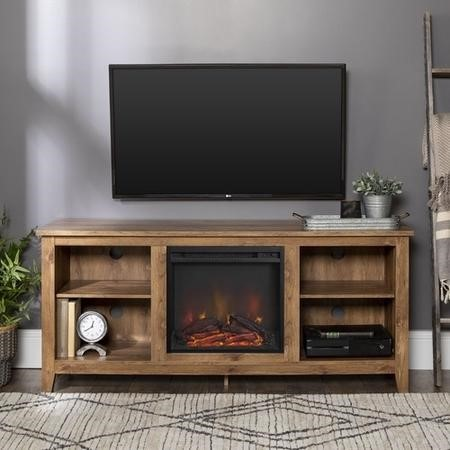 Foster Brown Wood Effect TV Unit with Electric Fire & Storage - TV's up to 50""