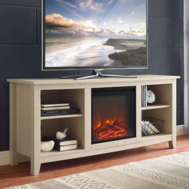 Foster Light Wood Effect TV Unit with Electric Fire & Storage - TV's up to 60""