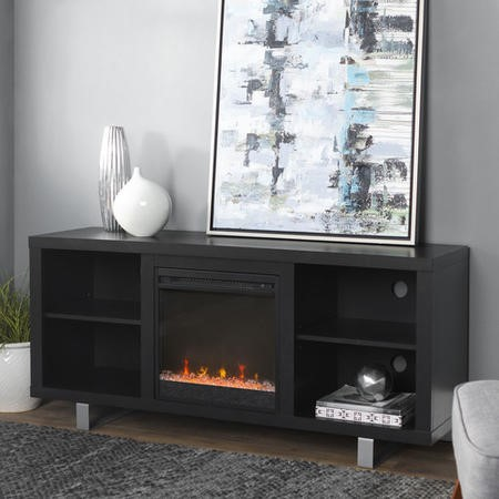 Foster Black Painted Wood Effect  TV Unit with Electric Fire & Silver Legs - TV's up to 60""