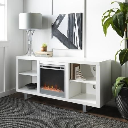 Foster White Wood Effect TV Unit with Electric Fire & Shelves - TV's up to 60""