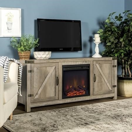 Foster Grey Wood Effect TV Unit with Electric Fire & Storage Cupboards - TV's up to 60""