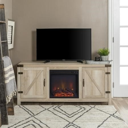 Foster Light Oak Effect TV Unit with Electric Fire & Storage Cupboards - TV's up to 60""