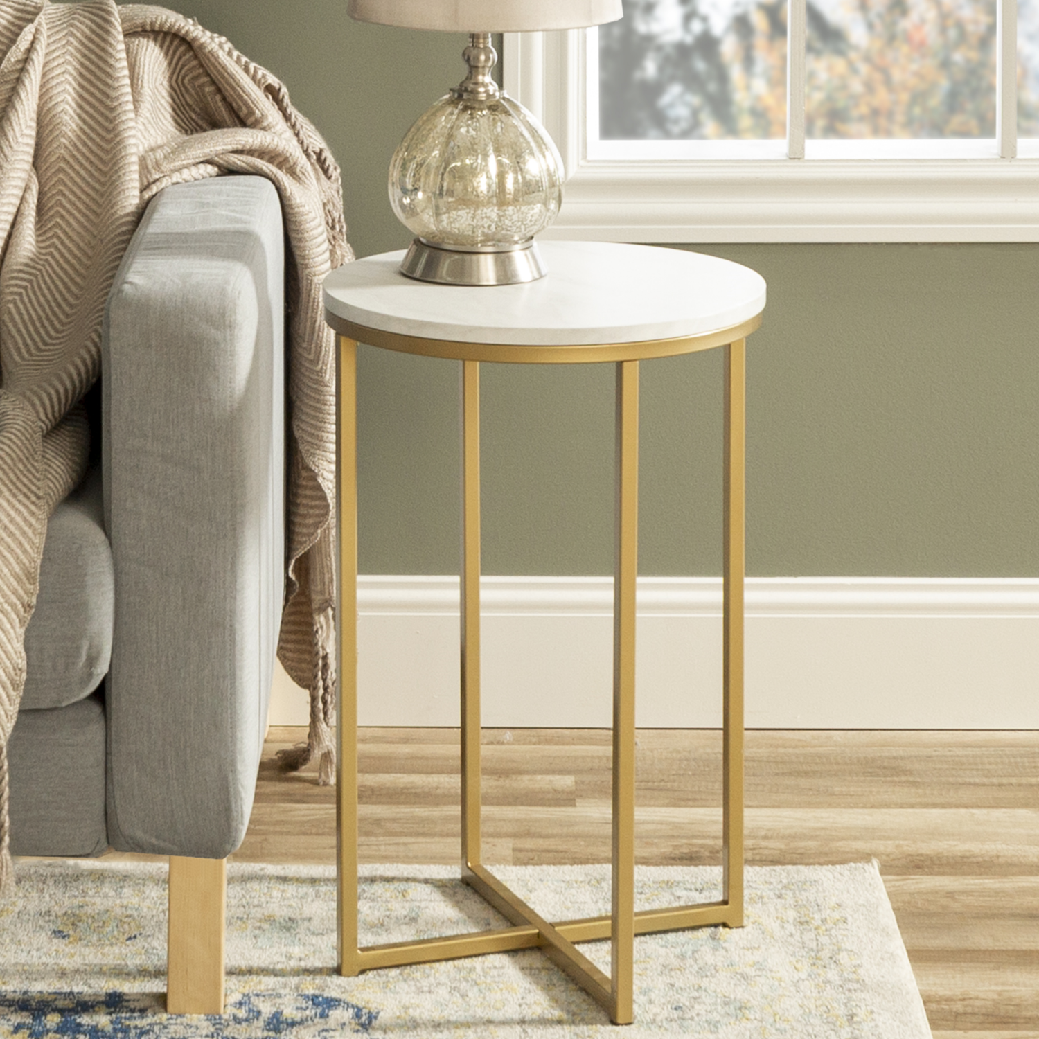 Gold Round Side Table in Faux Marble  Foster