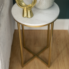 Gold Round Side Table in Faux Marble - Foster