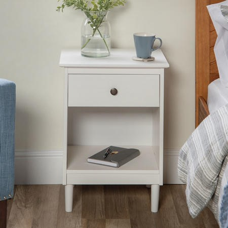 Foster Modern 1 Drawer Bedside Table in White