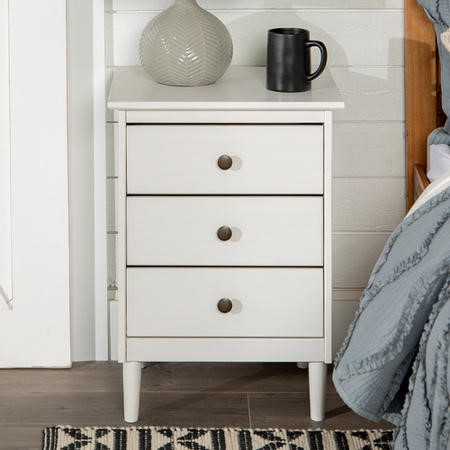 White Bedside Table in Solid Pine with 3 Drawers - Foster