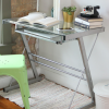 Foster Silver Office Desk with Tempered Glass & Keyboard Tray