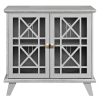 Grey Solid Wood Storage Cabinet with Double Doors - Foster