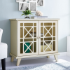 Foster Cream Solid Wood Storage Cabinet with Double Doors
