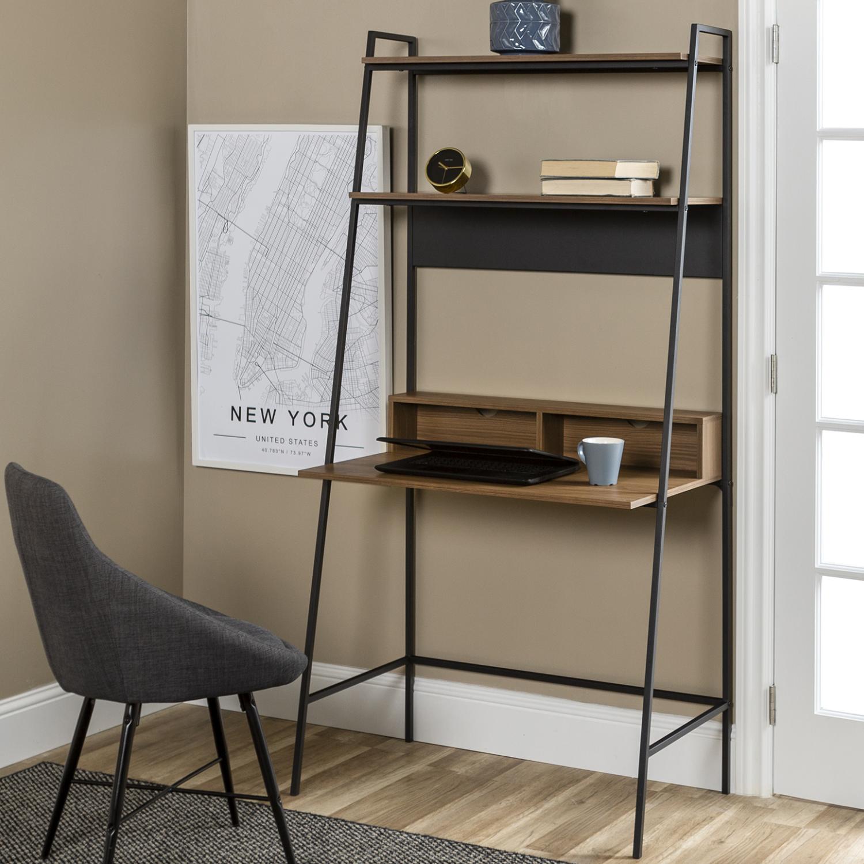 Fantastic Foster Brown Wooden Office Desk With Shelves Download Free Architecture Designs Estepponolmadebymaigaardcom