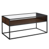 Glass Coffee Table with Brown Wooden Shelf - Foster