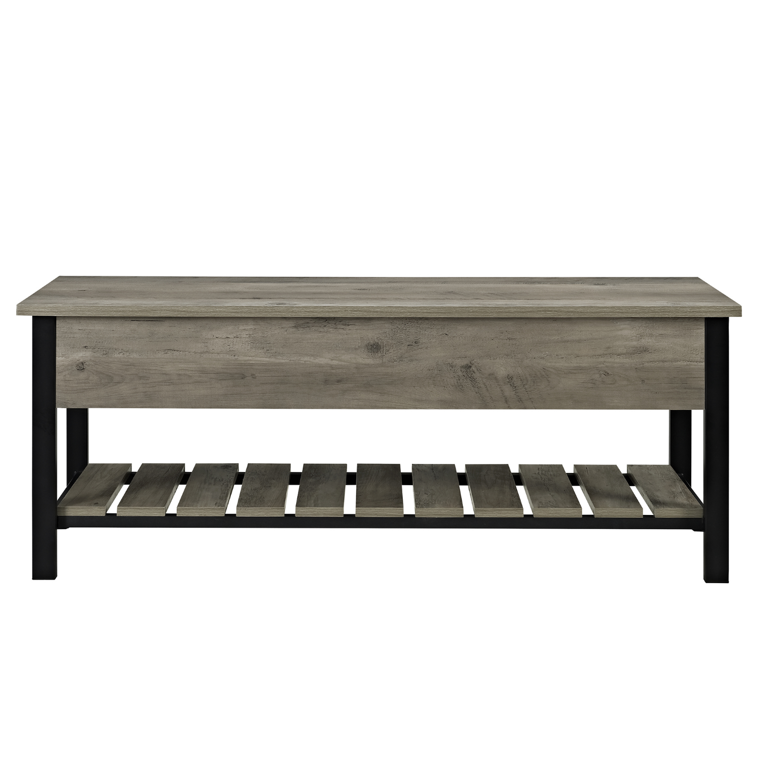 Foster Grey Storage Bench With Shoe Rack Furniture123