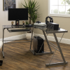 Foster Grey Office Corner Desk with Tempered Glass Table and Keyboard Tray