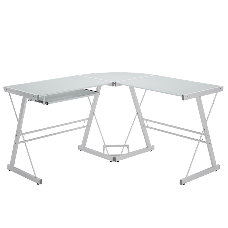 Foster White Corner Desk In Tempered Glass Furniture123