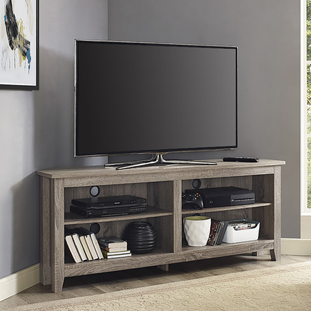 Foster Grey Wood Effect Corner TV Unit with Open Shelves - TV's up 60""
