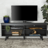 Foster Black Wooden TV Unit with Open Shelves - TV's up to 60""