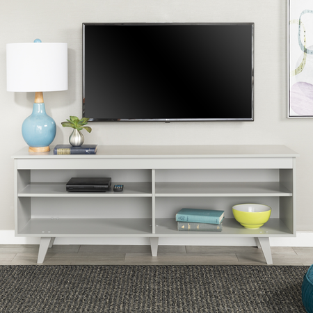 Foster Grey Wooden TV Unit with Open Shelves - TV's up to 60""