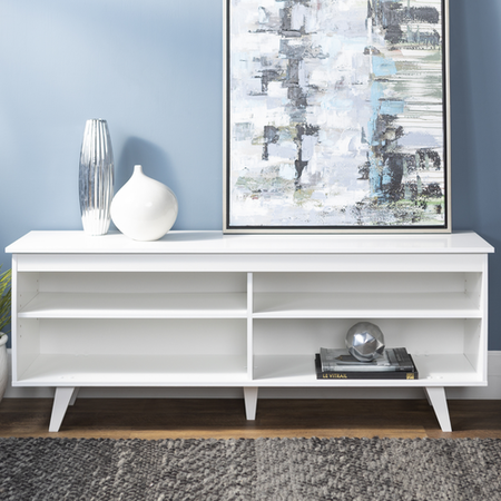 White Wooden TV Unit with Storage - Foster - TV's up to 60""