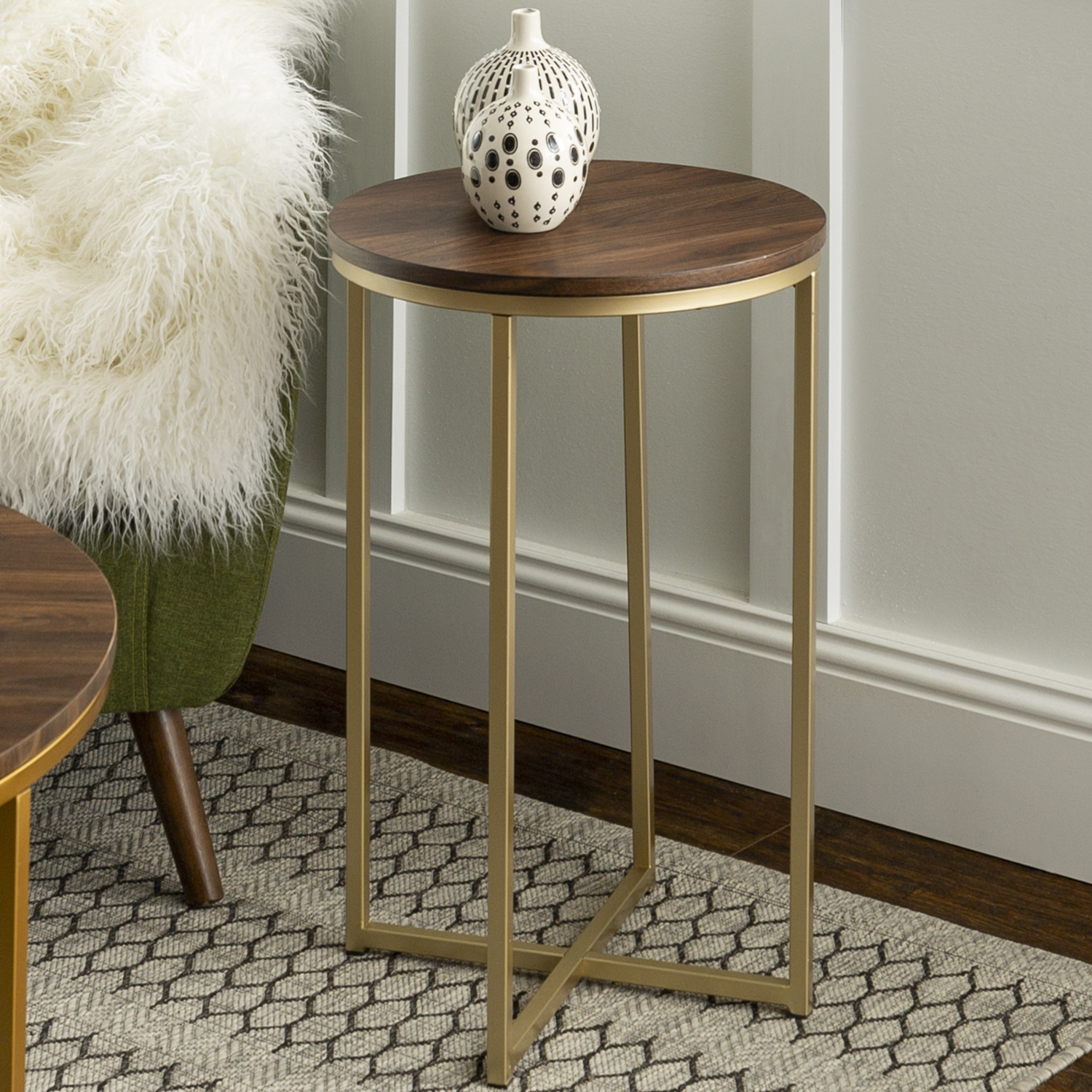 Gold Round Side Table With Dark Wood Top Foster