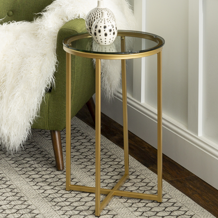 Foster Gold Side Table with Tempered Glass Top