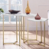 White Marble Hexagon Nest of 3 Tables with Gold Base - Foster