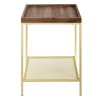 Foster Wood Effect Square Side Table with Gold Mesh Shelf