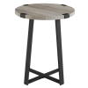 Foster Grey Wood Effect Side Table with Circular Top & Metal Base