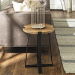 Foster Oak Effect Side Table with Circular Top & Metal Base