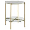 Foster White Marble Side Table with Glass Shelf