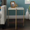 Foster Gold Faux Marble Square Side Table with Wooden Shelf