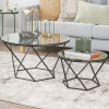 Mirrored Coffee Tables with Blavck Metal Base - Set of 2 - Foster