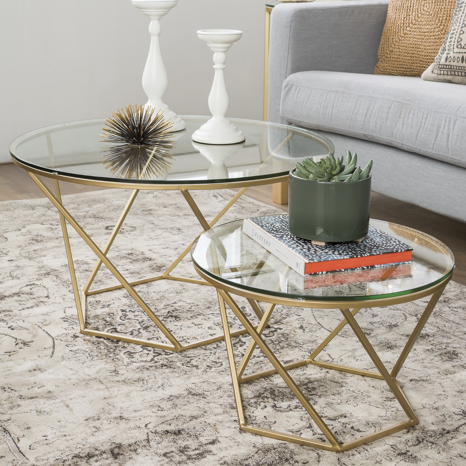 - Gold & Glass Coffee Tables - Set Of 2 - Foster Furniture123