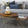 GRADE A1 - Foster Brown Wood Effect Nest of 2 Tables with Gold Base